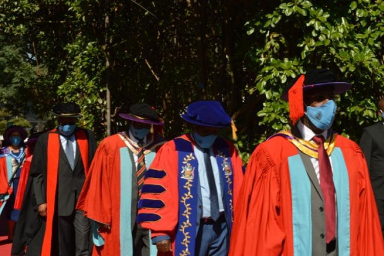 Prof Kiama leads the procession