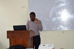 Mathews Koyeamai Presenting  his research work