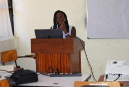 Antonate Akinyi Owuor doing a class presentation